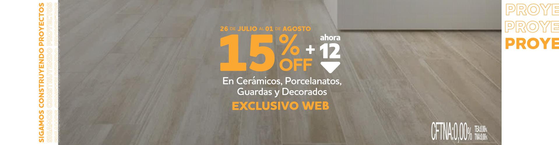 15% PISOS EXCLUSIVO WEB 26 JUL AL 1 AGO
