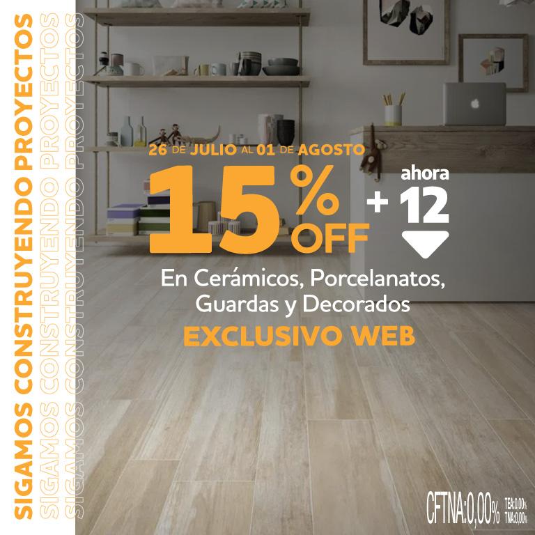 15% PISOS EXCLUSIVO WEB DEL 26JUL AL 1 AGO