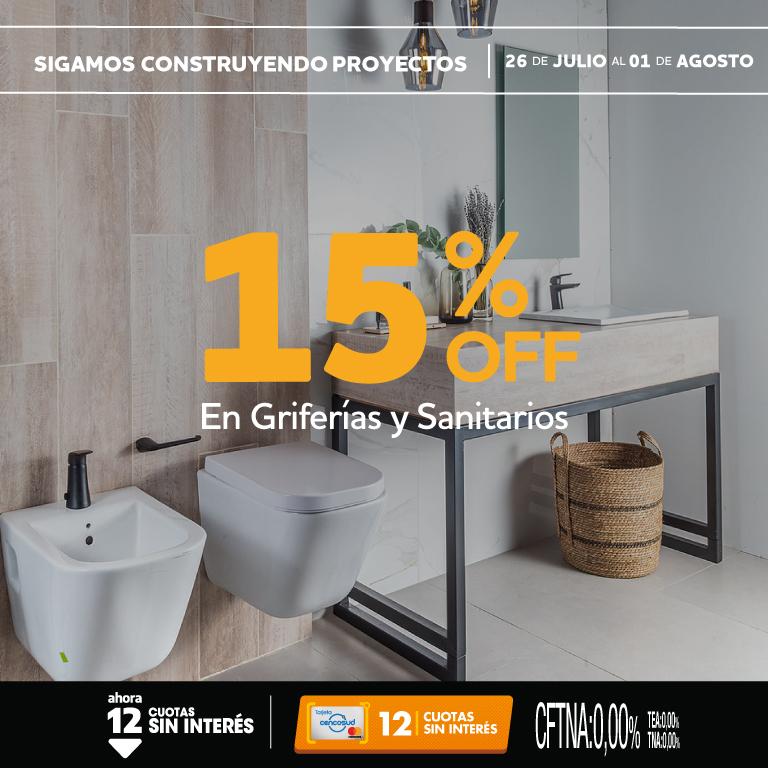 15% Griferias y Sanitarios Web + Tienda 26 al 01