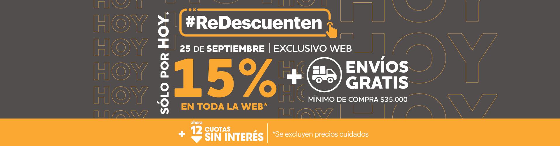 25-09 Solo x hoy - 15% toda la web