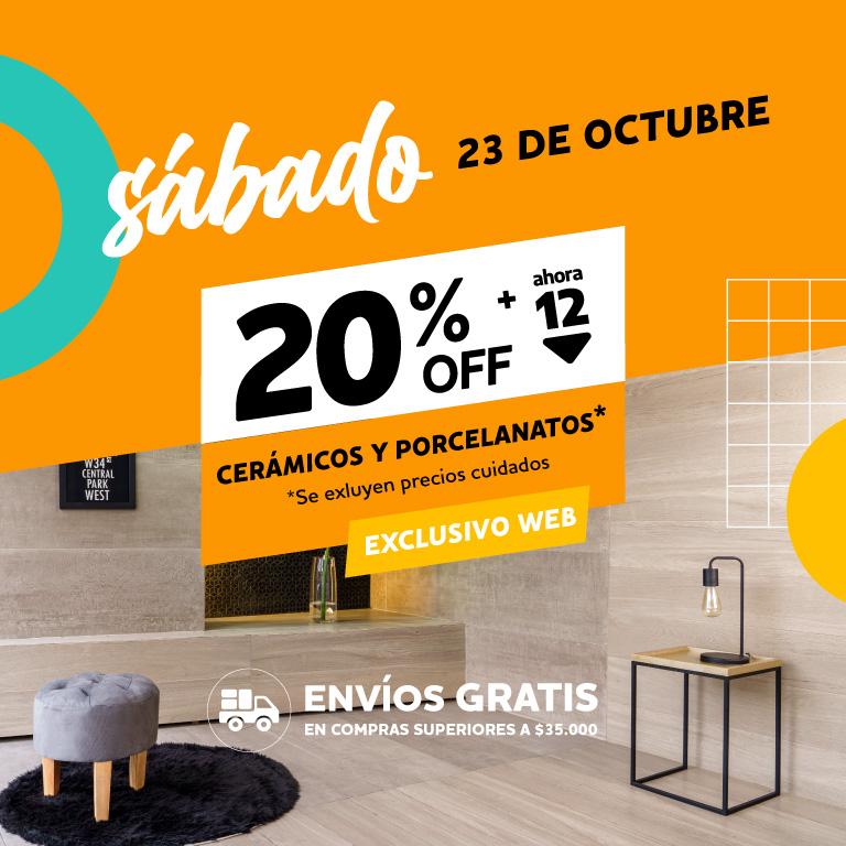 Solo x hoy 20% en Ceramicos y Porcelanatos 23-10